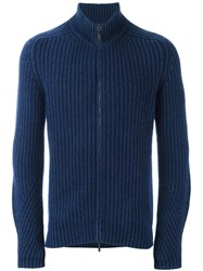 Iris Von Arnim Double Zipped Cardigan Blue