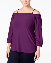 Inc International Concepts Plus Size Off The Shoulder Top Only At Macy's Purple Paradise