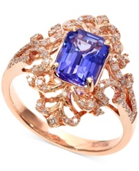 Effy Collection Blueberry Tanzanite 1 1 3 Ct. T.W. And Diamond 1 4 Ct. T.W. Antique Ring In 14K Rose Gold