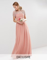 Maya Pleated Maxi Dress With Pearl Embellishment Dusky Pink