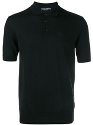 Dolce And Gabbana Embroidered Crown Knit Polo Shirt Black