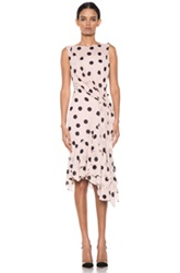 Nina Ricci Polka Dot Ruffle Hem Dress In Pink