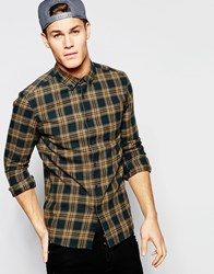 Asos Camel Shirt With Mid Scale Check In Long Sleeves Camel Navy