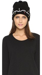Markus Lupfer Fairy Lights Sequin Beanie Hat Black