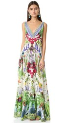 Camilla Tiered Gathered V Neck Dress Exotic Hypnotic