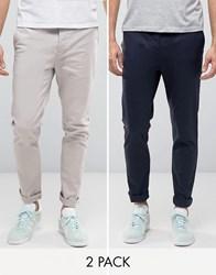 Asos 2 Pack Skinny Chinos In Navy And Light Grey Navy Silver Cloud Multi