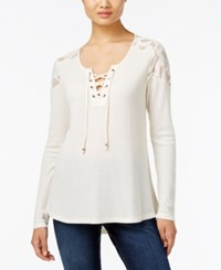 Styleandco. Style Co. Lace Trim Lace Up Top Only At Macy's Warm Ivory