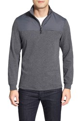 Men's Bugatchi Long Sleeve Quarter Zip Knit Sweatshirt Charcoal