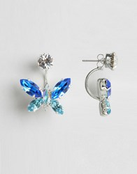 Krystal Swarovski Crystal Butterfly Swing Earrings Crystal Blue Mix