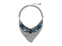 Guess Chainmail Necklace With Row Of Stones Hematite Blue Necklace
