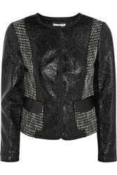 Tory Burch Daria Tweed Paneled Faux Patent Leather Jacket Black