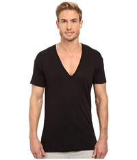 2Xist Pima Slim Fit Deep V Neck T Shirt Black Men's T Shirt