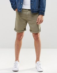 Asos Slim Denim Shorts In Light Green Sea Spray