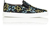 Men's Guccighost Print Leather Slip On Sneakers Black Blue Yellow Black Blue Yellow