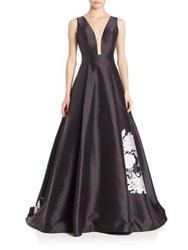 Jovani Sleeveless Illusion V Neck Gown Black