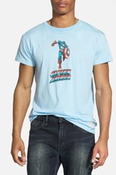 Original Retro Brand 'Captain America' Graphic T Shirt Blue