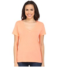 Hurley Staple Perfect V Tee Heather Bright Mango Women's T Shirt Orange