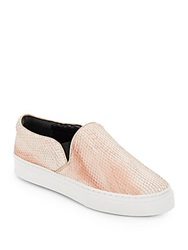 Schutz Amisha Snake Embossed Leather Slip On Sneakers