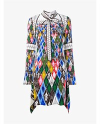 Peter Pilotto Argyle Print Dress Blue Yellow Brown Green White Red Multi Colo
