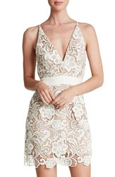 Women's Dress The Population 'Ava' Lace Minidress White Nude