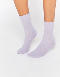 Asos Plain Rib Ankle Socks Lilac Purple