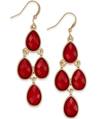 Style And Co. Gold Tone Red Stone Chandelier Earrings Only At Macy's