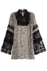 Anna Sui Printed Silk Tunic With Lace Black