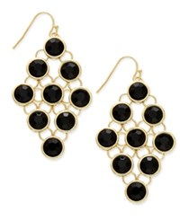Inc International Concepts Gold Tone Black Stone Chandelier Earrings Only At Macy's