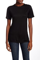 Derek Lam Short Sleeve Crew Neck Ruched Back Tee Black