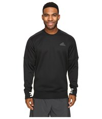 Adidas Sport Id Bonded Fleece Pullover Crew Black Black White Men's Long Sleeve Pullover