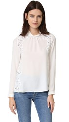 Rebecca Taylor Georgette And Lace Blouse Chalk