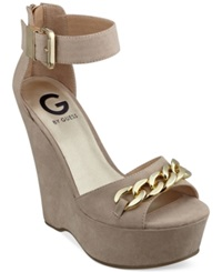 G By Guess Women's Hevelyn Two Piece Platform Wedges Women's Shoes Sand Suede