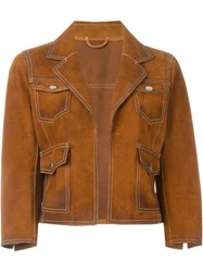 Dsquared2 Cropped Suede Jacket Brown