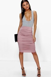 Boohoo Rouched Side Jersey Midi Skirt Rose