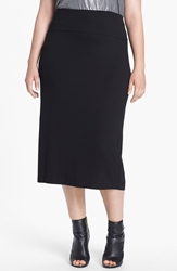 Eileen Fisher Jersey Midi Skirt Plus Size Black