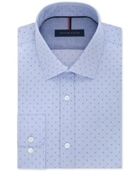 Tommy Hilfiger Men's Slim Fit Non Iron Blue Cloud Print Dress Shirt