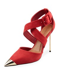 Carrano Janet Crisscross Suede Sandal Red