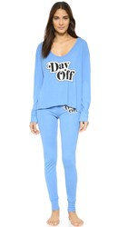 Wildfox Couture Day Off Pj Set Azure Blue
