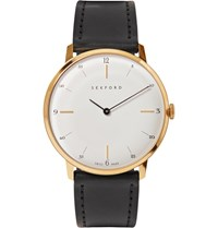 Sekford Type 1A Gold Tone And Cordovan Leather Watch Black