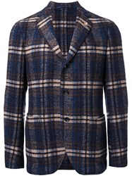 Lardini Plaid Check Blazer Blue