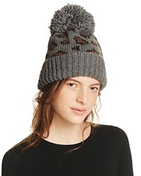 Genie By Eugenia Kim Logan Leopard Knit Slouchy Pom Pom Hat Gray