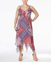 Jessica Simpson Plus Size Printed Handkerchief Hem Maxi Dress Bright Blue