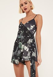Missguided Tall Black Floral Print Wrap Playsuit