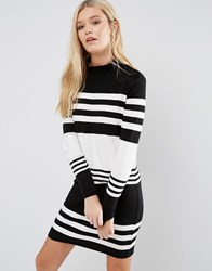 Jdy Lattie Stripe Long Sleeve Dress Blk White