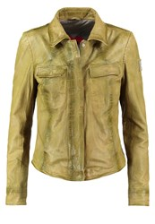 Freaky Nation Garden Leather Jacket Garden Olive Green
