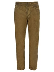 Bottega Veneta Overdyed Cotton Poplin Trousers Khaki