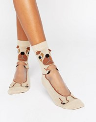 Asos Pug With Sheer Belly Ankle Socks Beige