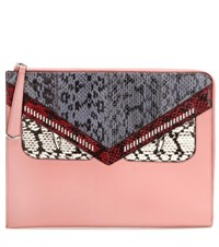 Fendi Monster Snakeskin And Leather Clutch Pink