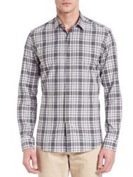 Salvatore Ferragamo Plaid Casual Button Down Shirt Black White