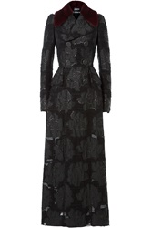 Alexander Mcqueen Embroidered Coat With Mink Fur Collar Black